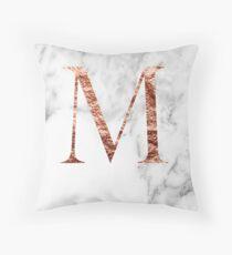 Monogram rose marble M Throw Pillow