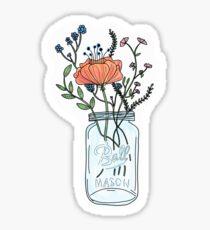 Watercolor Flowers in a Mason Jar Sticker