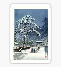 Kawase Hasui - Hommonji temple in snow, 1931 Sticker