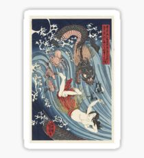 Recovering the Stolen Jewel from the Palace of the Dragon King by Kuniyoshi (1797 - 1861) Sticker