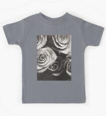 Medium format analog black and white photo of white rose flowers Kids Tee
