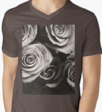 Medium format analog black and white photo of white rose flowers Men's V-Neck T-Shirt