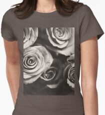 Medium format analog black and white photo of white rose flowers Women's Fitted T-Shirt