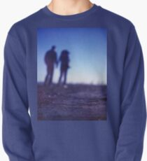 Romantic couple walking holding hands on beach in blue Medium format color negative film photo Pullover
