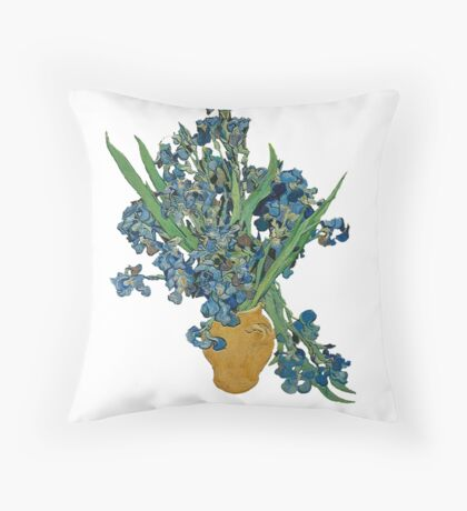 Van Gogh Iris Grunge Throw Pillow