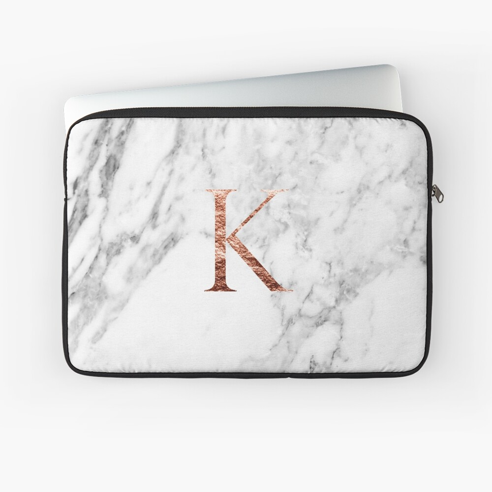 Monogram rose marble K Laptop Sleeve Front