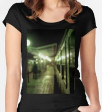 Old train at night in empty station green square Hasselblad medium format film analog photograph Women's Fitted Scoop T-Shirt