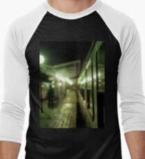 Old train at night in empty station green square Hasselblad medium format film analog photograph Men's Baseball ¾ T-Shirt