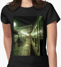 Old train at night in empty station green square Hasselblad medium format film analog photograph Women's Fitted T-Shirt