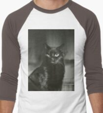 Portrait of black cat square black and white analogue medium format film Hasselblad  photograph Men's Baseball ¾ T-Shirt