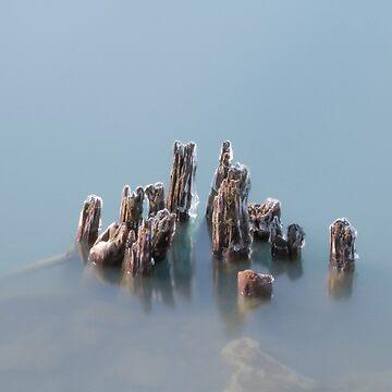 Long Exposure Lake Erie Pylons by travispowers