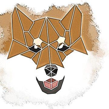 Geometric Shiba Inu Print by AmeAki