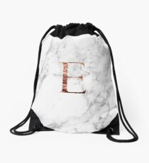 Monogram rose marble E Drawstring Bag
