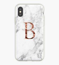 Monogram rose marble B iPhone Case