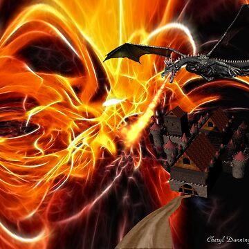 castle in flames by mistressotdark