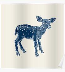 Dear Deer Indigo on Vanilla Poster