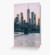 Brooklyn Bridge and downtown Manhattan New York at sunset Greeting Card