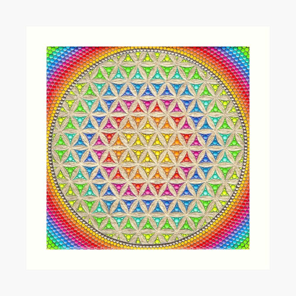 Rainbow flower of life painting Art Print