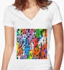 Abstract Colorful Pattern. Geometric Ornamental Triangle Background Women's Fitted V-Neck T-Shirt