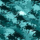 Teal Camo Camouflage  by Valerie  Fuqua