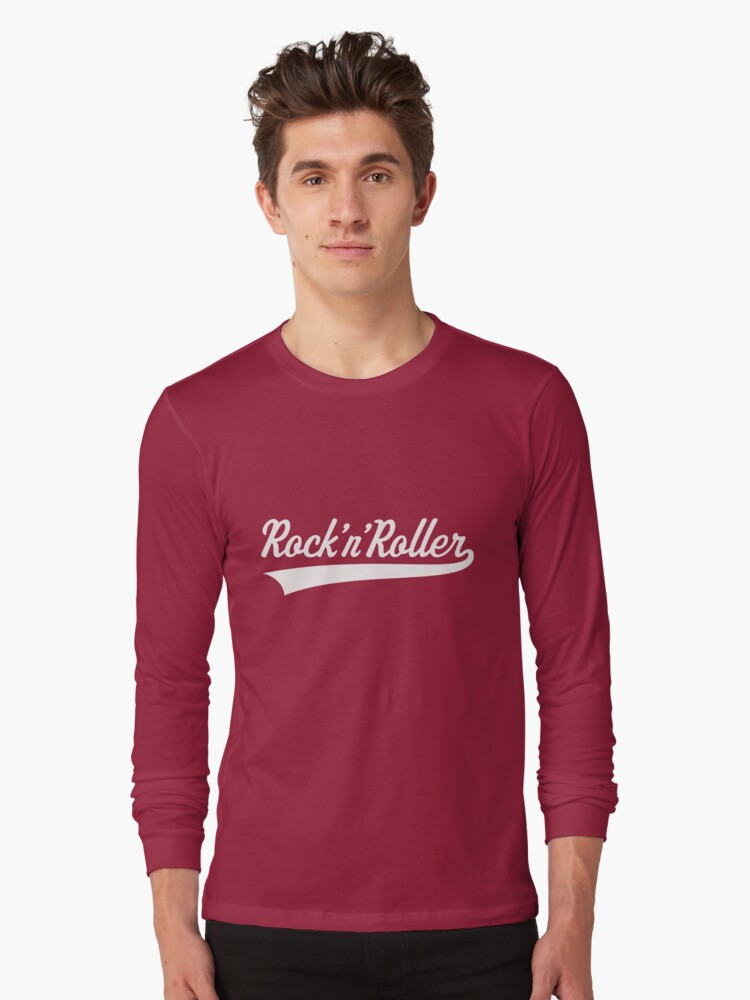 rock 39 n 39 roller white long sleeve t shirt by mrfaulbaum redbubble. Black Bedroom Furniture Sets. Home Design Ideas