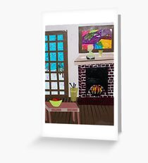 Fireside Fantasy  16x22 print of an orignial Paper Scene by Alice Greeting Card