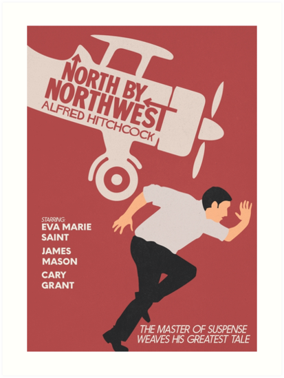 North By Northwest Alfred Hitchcock Film Minimal Movie Poster Classic Cinema Alternative