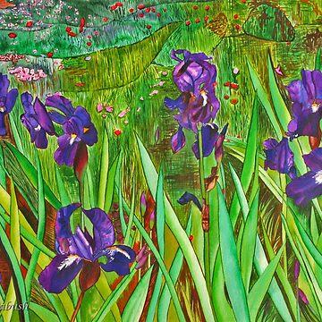 The Deep Purple Irises Field by colourfulmagic