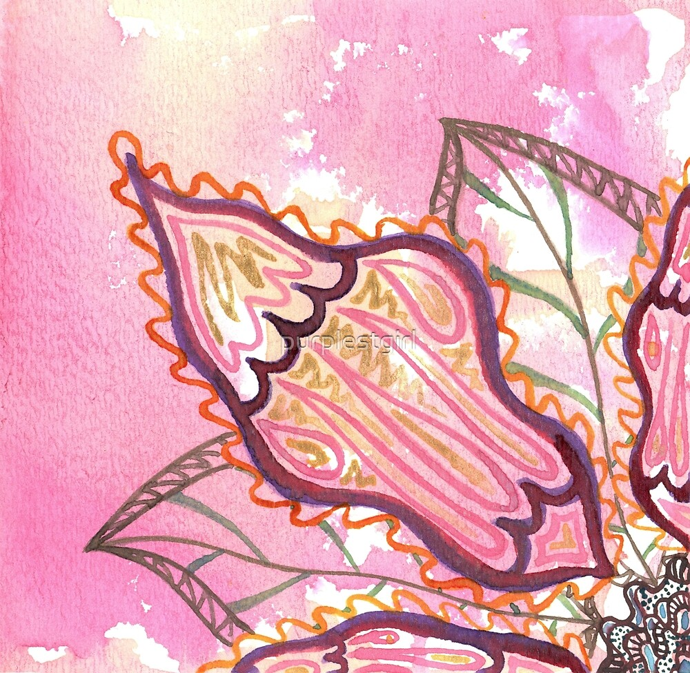 pink and gold watercolor flower by purplestgirl