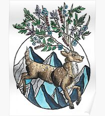 Mountain Stag with Floral Antlers Illustration Poster