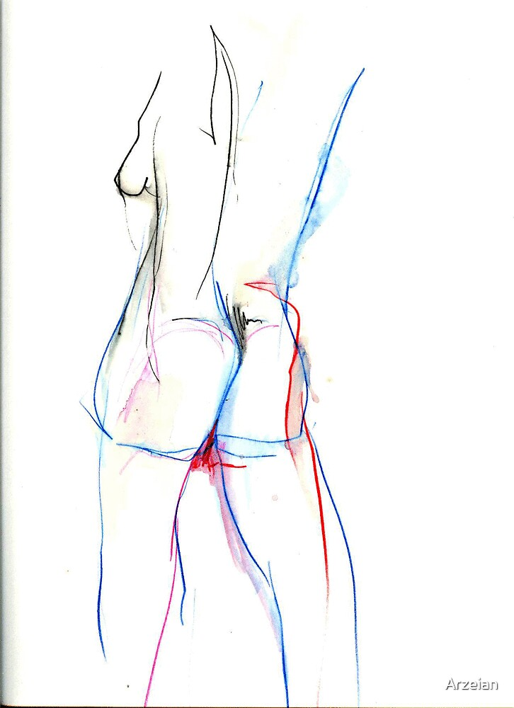 Irena in colured watercolour pencil (study) by Arzeian
