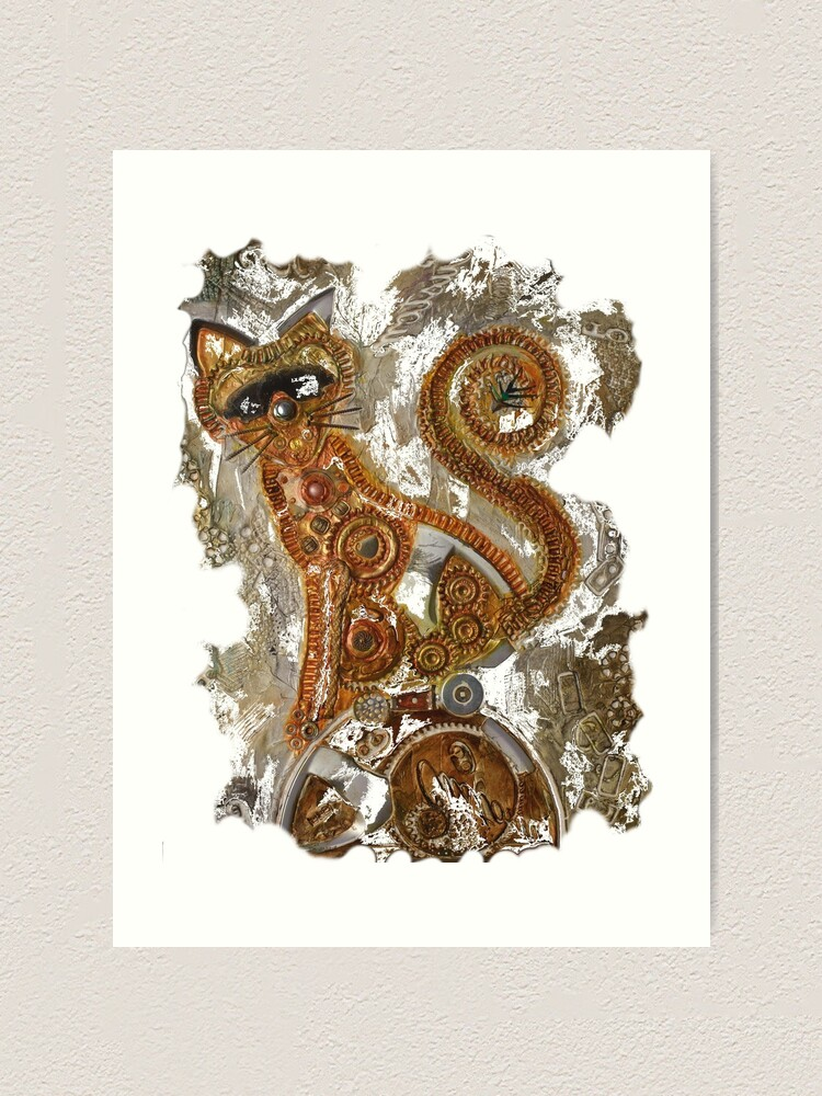 Alternate view of CRAZY STEAMPUNK CAT Art Print