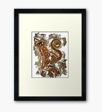 CRAZY STEAMPUNK CAT Framed Print