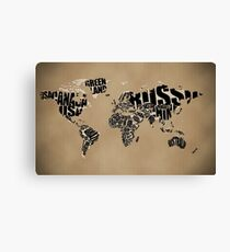 Typographic World Map Canvas Print