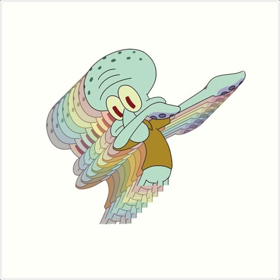 Squidward Dab Art Print By Matucho Redbubble