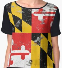 Distressed Maryland State Flag Design Chiffon Top