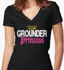 Grounder Princess Women's Fitted V-Neck T-Shirt