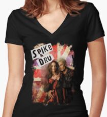 Spike & Dru - Rock & Roll Women's Fitted V-Neck T-Shirt