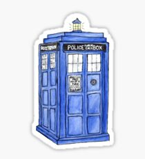 Watercolor Tardis Sticker