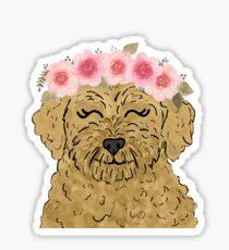 Floral Crown Goldendoodle  Sticker