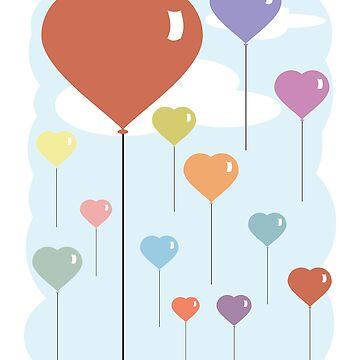 Valentine Balloon Hearts by evisionarts