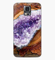 Amethyst und Holz Hülle & Klebefolie für Samsung Galaxy