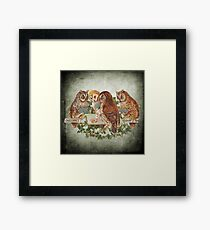 Cool Owls Gambling and Playing Poker on Table Framed Print