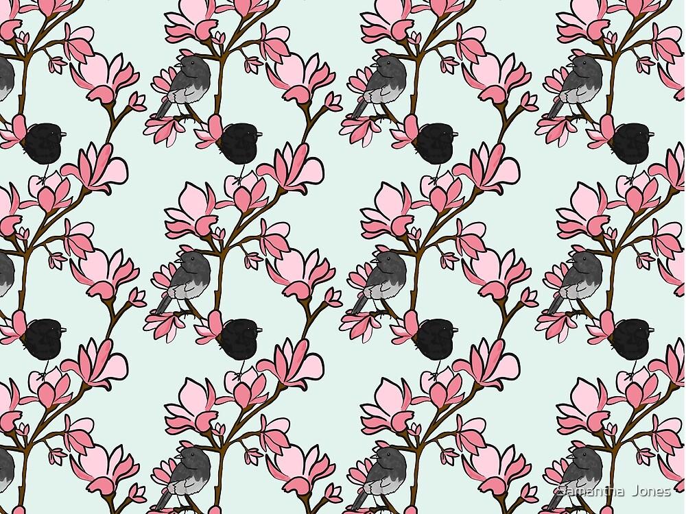 Robins in magnolias by Samantha  Jones