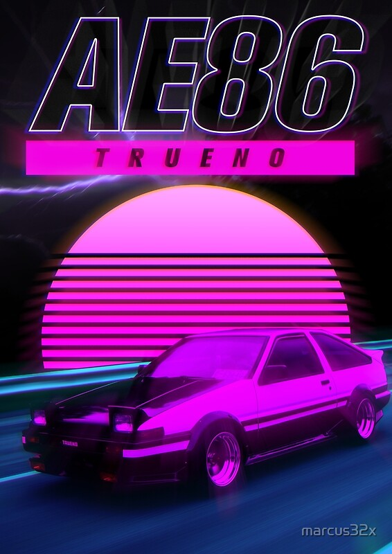 Quot Ae86 Retro Synthwave Poster Quot Posters By Marcus32x Redbubble