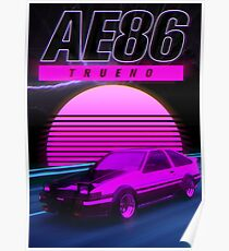 AE86 RETRO SYNTHWAVE POSTER Poster