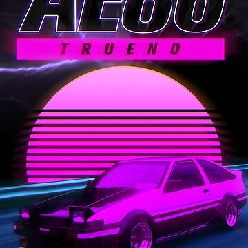 AE86 RETRO SYNTHWAVE POSTER by marcus32x