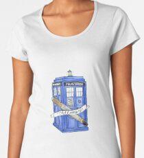 10th Doctor's Tardis, Sonic, and Saying Women's Premium T-Shirt