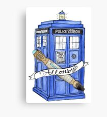 10th Doctor's Tardis, Sonic, and Saying Canvas Print
