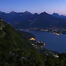 Night comes on Annecy lake by Patrick Morand